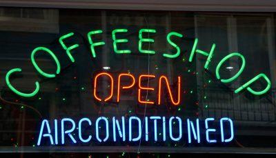 LED colourful Coffeeshop sign, Amsterdam
