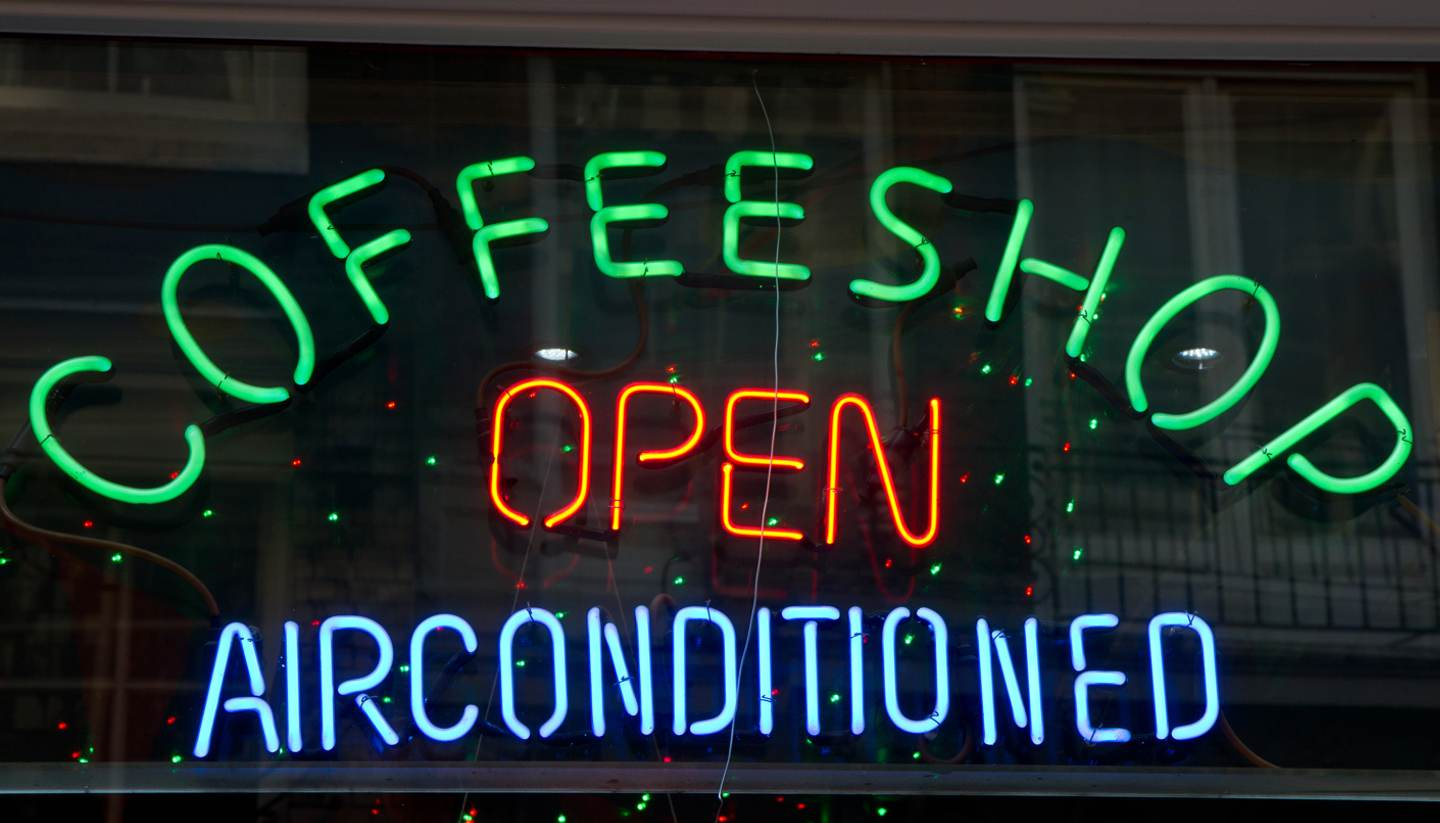 10 of the best coffeeshops in Amsterdam - LED colourful Coffeeshop sign, Amsterdam