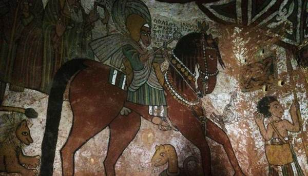 Mural of Saint Abuna Yemata riding a horse