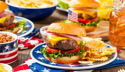 American food; burgers and chips and soda