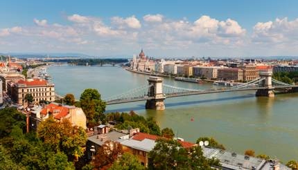 Danube river bisecting Budapest