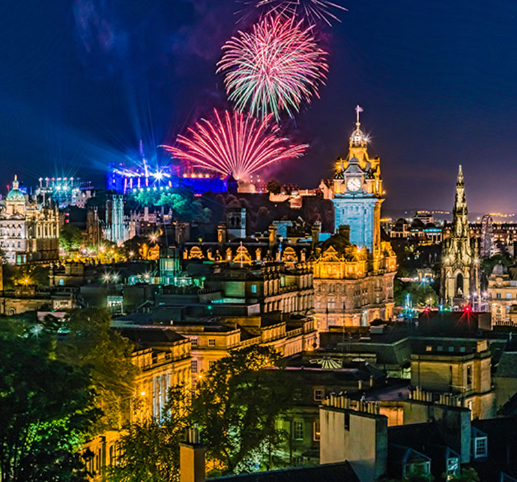 Fireworks on the City of Edinburgh In Scotland