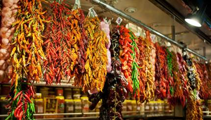 Spices in central market in Budapest