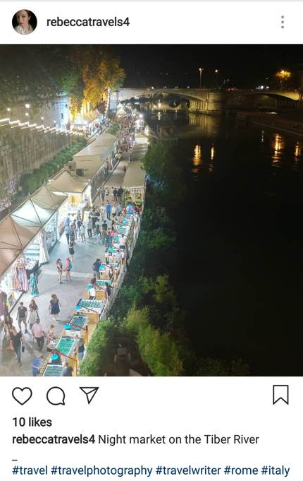 Night market by the Tiber River