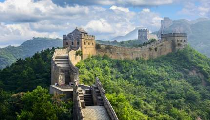 High altitude view of the Great Wall of China