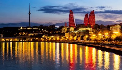 Night views of the Flame Towers, Baku, Azerbaijan