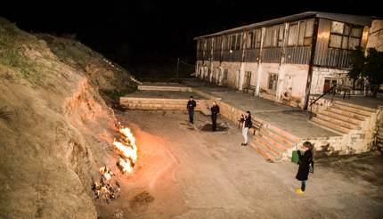Tourists at the burning mountain, Yanar Dag, Azerbaijan