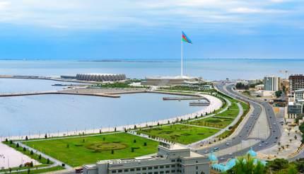 View of Baku Boulevard and National Flag Square, Baku, Azerbaijan