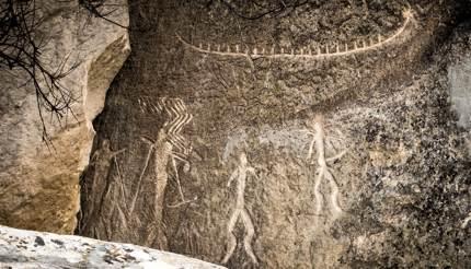 Ancient rock carvings in Gobustan National Park, Azerbaijan