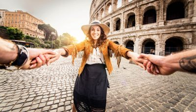 Happy tourist at the Colosseum