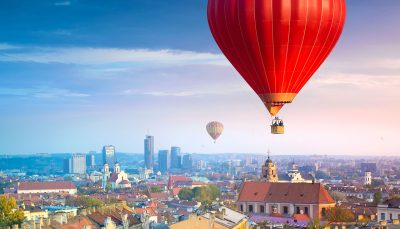 Hot air balloon soaring over Vilnius