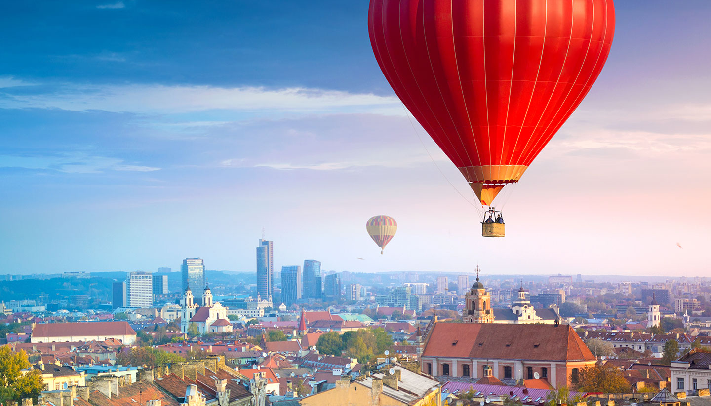 Soaring over Vilnius, plus 14 other offbeat things to see and do in Vilnius - Hot air balloon soaring over Vilnius