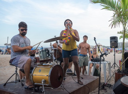 A performance on Copacabana Beach