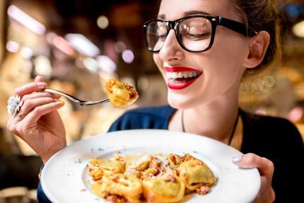 Enjoying tortellini in Bologna