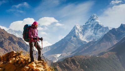 Woman hiking in Himalayas