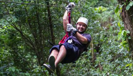 Zip lining in the Malolotja treetops
