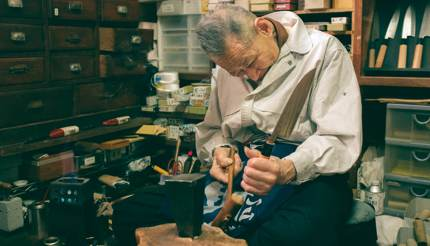Old man making a Sakai knife