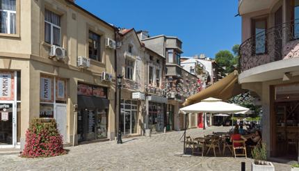Streets and houses in Kapana district, Plovdiv