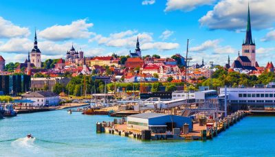 Old Town and seaport harbour in Tallinn, Estonia