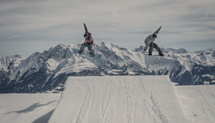 Synchronous jump, Laax, Switzerland