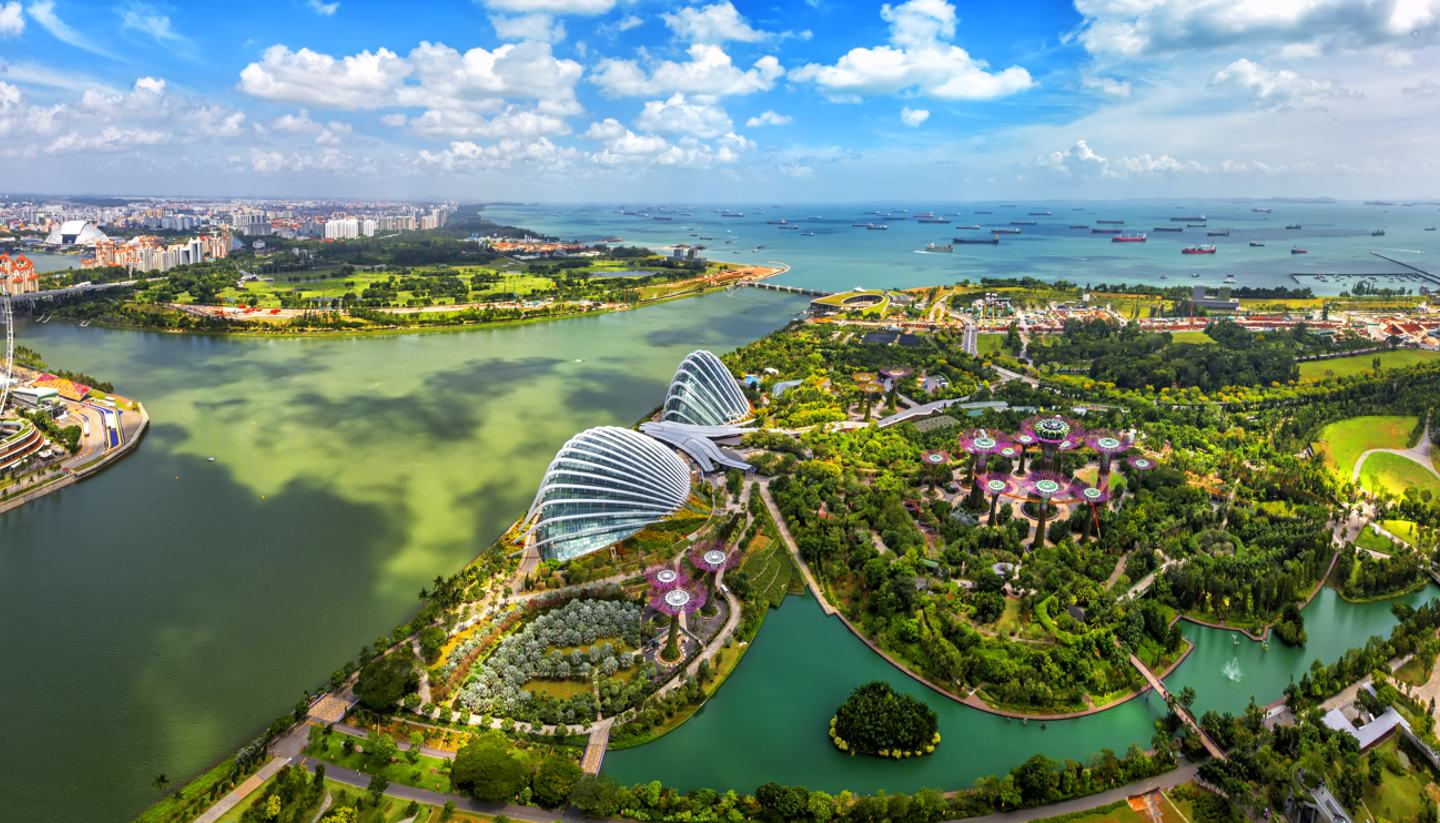 Where to go on holiday in February 2019 - Birdseye view of Singapore City Skyline