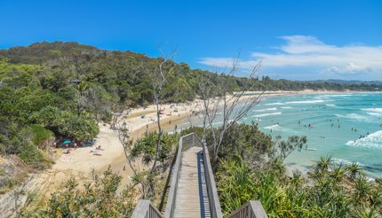 Byron Bay Beach lookout point on a bright day