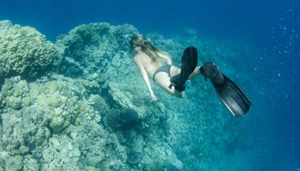woman free diving in the Bahamas