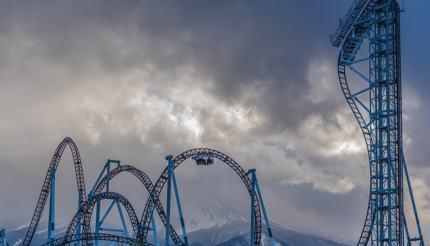 Takabisha roller coaster at Fuji-Q Highland theme park