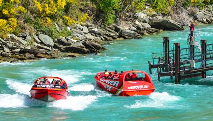 Jet boating on Shotover River in New Zealand