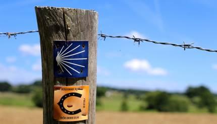 Signpost for walking track for Santiago de Compostela