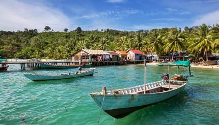Fishing boats in Kep, Cambodia