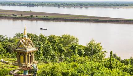 A tower overlooks the Mekong River at Wat Hanchey Buddhist monastery, near Kampong Cham