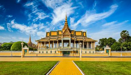 Phnom Penh tourist attraction and famous landmark - Royal Palace complex, Cambodia