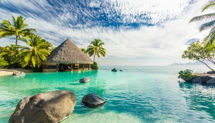 Infinity pool in Tahiti, French Polynesia
