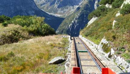 View from the Gelmer Funicular, Switzerland