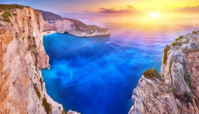 Navagio Beach with shipwreck view on Zakynthos island, Greece