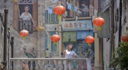 The Chinese calligrapher mural, photo from Malay Mail