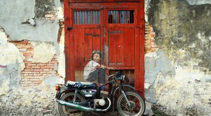 Old Motorcycle by Zacharevic, Penang, Malaysia