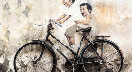 Children on Bicycle by Zacharevic, Penang, Malaysia