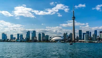 City skyline over Lake Ontario