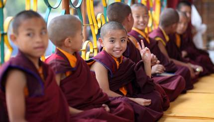Young Tibetan novices in Bodh Gaya, India