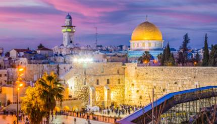 Old city at the Western Wall and the Dome of the Rock, Jerusalem