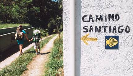 Two people walking the Camino de Santiago