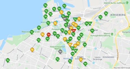 Bike-share scheme map in Malmo, Sweden
