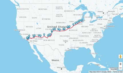 The route of Southwest Chief © Amtrak.com