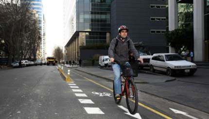Man cycling in Buenos Aires, Argentina