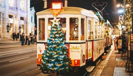 Christmas decorated tram on the Vienna Ring line