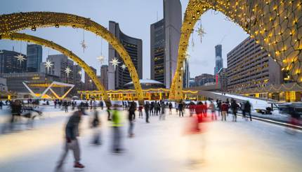 Ice skating at Nathan Philips Square, Toronto