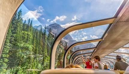Train through Canadian Rockies