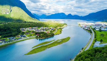 The town of Åndalsnes, where the Rauma Line ends